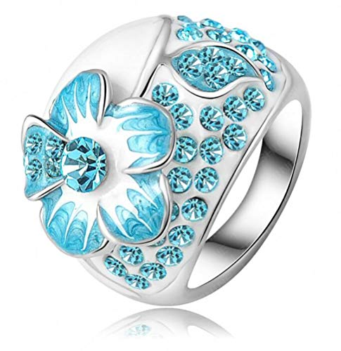 Crystal Chunky Cocktail Ring - TEMEGO CZ Flower Engagement Ring,Blue White Enamel Crystal Chunky Cocktail Statement Ring,Size 6