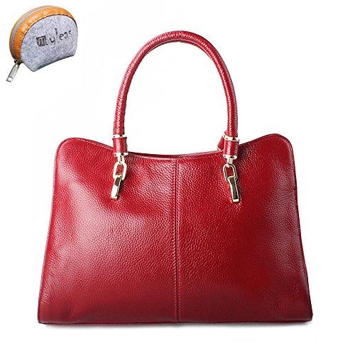 Myleas 2W-ST5339 Bolso al Hombro de Cuero Genuino para Mujer Bolso de Mano con Correa Rojo