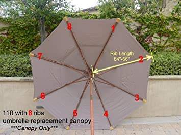 Formosa Covers Replacement Umbrella Canopy for 11ft 8 rib Market Outdoor Patio Shades in Taupe Ribs length 64 to 66 Canopy Only