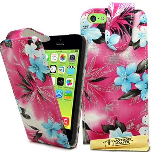 Accessory Master 5055716378702 Blumen Design Elegante Ledertasche für Apple iPhone 5C rosa
