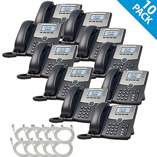 Cisco SPA504G 4-Line IP Phone 2-Port Switch PoE LCD Display Extra Cat5 Cables (10-Pack) -