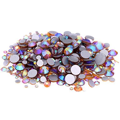 Nizi Jewelry Crystal Non Hotfix Rhinestones Glass Gems Strass Nail Art Decorations Topaz AB Color (Mixed Sizes 1000pcs)
