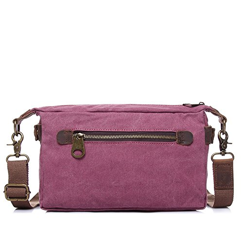 Messenger Bag Shoulder Red Shopping Retro Simple Color Zipper Waterproof Comfortable Canvas WYnPX10n