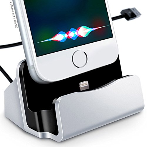 iPhone Charger Stand — Charge & Sync Dock by Signion Gear — with Lightning to USB Charging Cable. Docking Station for Apple iPhone 5/6/7, iPad mini & iPod. Small, Light, Portable (Silver)