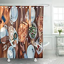 Emvency Shower Curtains Bathroom 72 x 72 Inches Above Top View Group Friends Having Food The at Housewarming Party Pizza Dining People Waterproof Fabric Bath Decor Curtain Sets Hooks