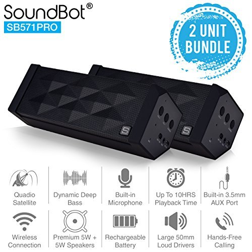 SoundBot SB571PRO Bluetooth QUADIO Satellite Portable Wireless Speaker w/ Multi-Unit Multi-Point Connectivity, Master/Slave Simultaneous Surround Sound, HD 5W+5W Acoustic 50mm Driver - 2PK BUNDLE SET