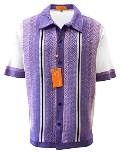 Style Mens Diamond - Edition S Men's Short Sleeve Knit Shirt- California Rockabilly Style: Diamond Plate Design (Medium, White-Lavender)