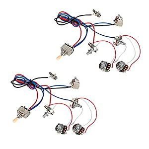 kmise electric guitar wiring harness kit 2v2t pot jack 3 way switch for gibson les. Black Bedroom Furniture Sets. Home Design Ideas