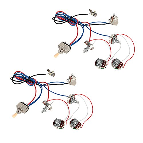 Les Paul Switch Wiring - Kmise Electric Guitar Wiring Harness Kit 2V2T Pot Jack 3 Way Switch for Gibson Les Paul Lp Parts 2 Pcs