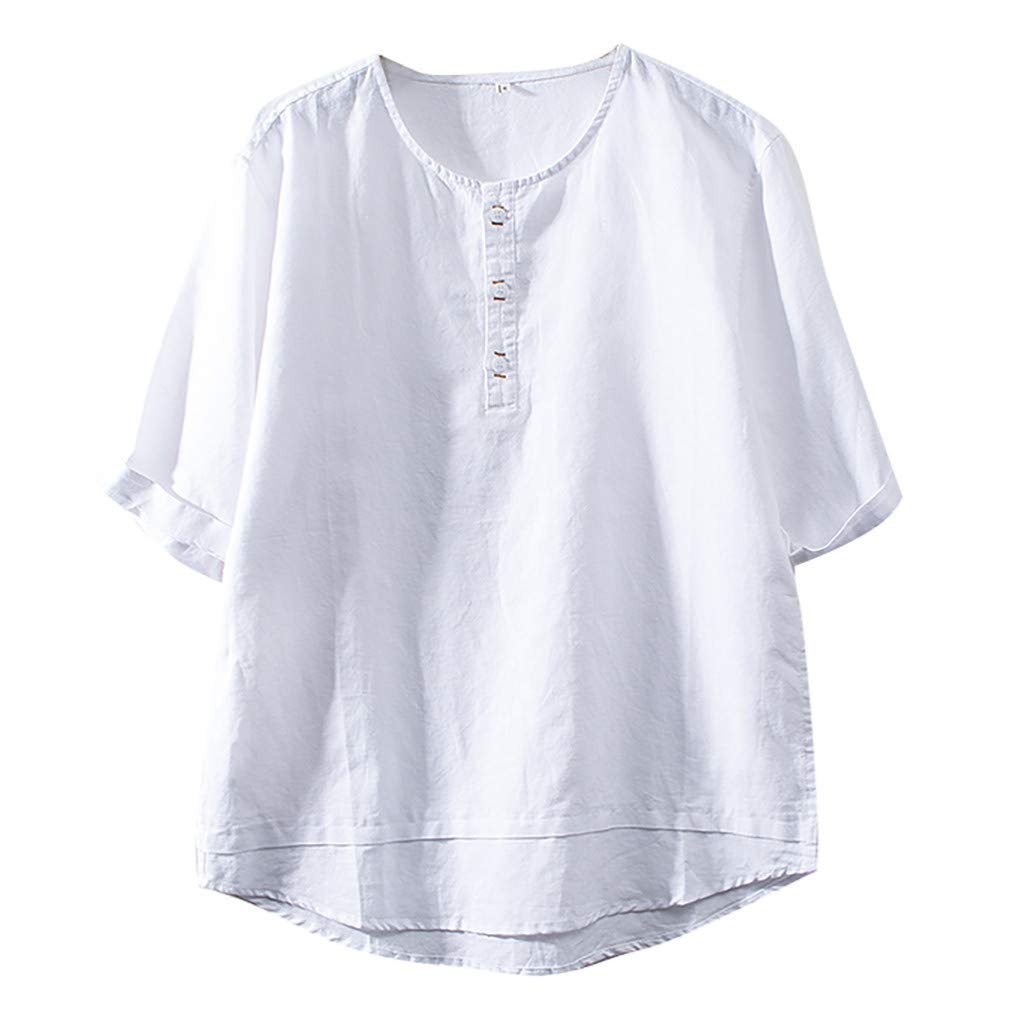 Jumaocio Mens Henley Shirts Cotton Linen Solid Color Short Sleeve