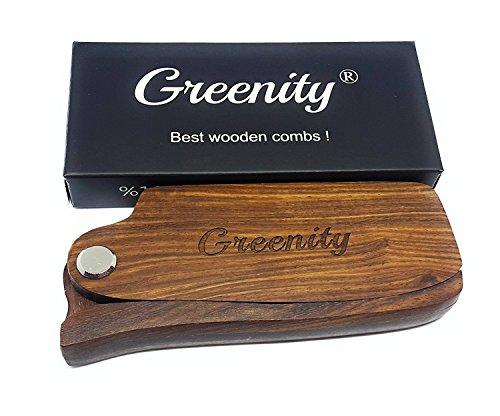 Greenity Best Folding Black Gold SandalWood Beard and Hair Anti Static Natural Wooden Comb