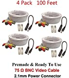 WennoW Lot-4 100FT BNC Male Cable w 2 Female Connectors