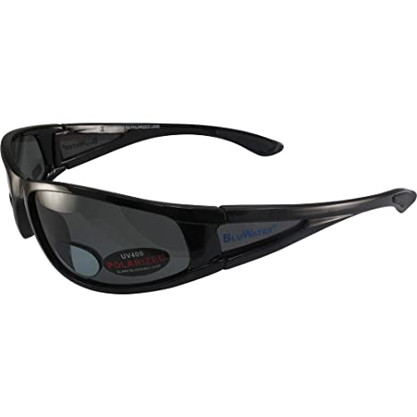 fd21d248f81 Amazon.com  BlueWater Polarized Bifocal 3 Sunglasses Gloss Black Frames  +1.5 Magnification Smoke Lenses by Global Vision  Automotive