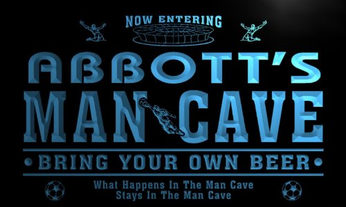 qd1463-b ABBOTT's Man Cave Soccer Football Neon Beer Sign by AdvPro Name
