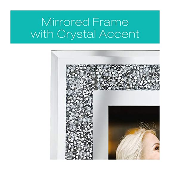 """Decorative Picture Frame 8""""x10"""" Photo Holder Glass Mirror with Sparkling Crystal Boarder. Use Standing with Included Easel or Ready to Hang. - MODERN DESIGN - Modern real glass picture frame with sparkling crystal border that perfectly fits any decor. The frame can hold a 8x10 inch photo. EASY TO DISPLAY - With the pre-installed brackets and standing easel, ready to mount on the wall or to display on the desktop. The frame can hold a 5x7 inch photo, A lovely picture frame to decorate a wall, Vertically and Horizontally. UNIQUE PHOTO FRAME - Perfect for your home, office, studio or gallery. Not only a great addition to any room, but also a perfect gift to anyone. - picture-frames, bedroom-decor, bedroom - 51kkdtvkHvL. SS570  -"""