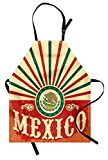 Ambesonne Mexican Apron, Retro Pop Art Style Mexico Calligraphy with Tribal Classic Icon on Grunge Image, Unisex Kitchen Bib Apron with Adjustable Neck for Cooking Baking Gardening, Multicolor