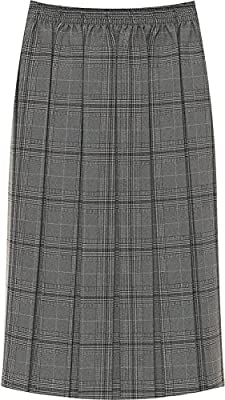 WearAll Women's Plus Stretch Elasticated Check Tartan Print Pleated Midi Skirt