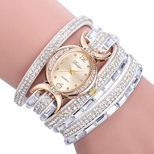 Silver Tone Desk Clock (Jaylove Clearance Sale Vintage PU Leather Bracelet Women Ladies Diamond Circle Watch Student Fashion Table (White))