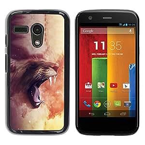 Be Good Phone Accessory // Dura Cáscara cubierta Protectora Caso Carcasa Funda de Protección para Motorola Moto G 1 1ST Gen I X1032 // Majestic Lion Roar