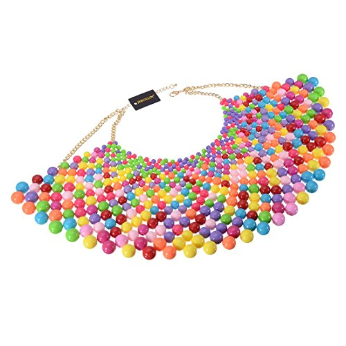 Bib Collar Necklace Chunky CCB Resin Beads Chain Choker Statement Necklace Womens Fashion Jewelry Necklace (Multi-Color 1)