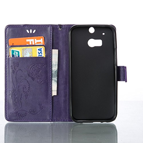 HTC One M8 Hülle Silikon,HTC One M8 Hülle Leder,HTC One M8 Hülle Schwarz,HTC One M8 Hülle Anime,EMAXELERS HTC One M8 Hülle Tasche Blau PU Leder Wallet Brieftasche Schutzhülle,HTC One M8 Hülle Flip Wal Butterfly 8
