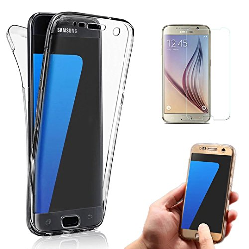 Galaxy J5 Prime Case, Galaxy On5 2016 Case, Bonice Full Body 360 Degree Front and Back 2pcs Protective Case TPU Gel Transparent Clear Cover for Samsung Galaxy J5 Prime / Galaxy On5 2016 - Black