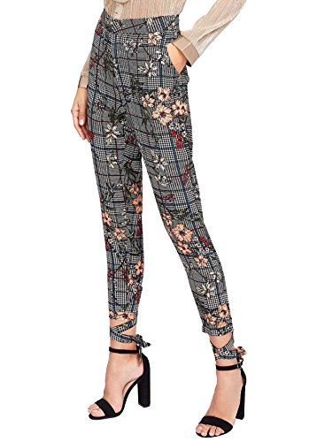 SweatyRocks Women's Floral Print Casual Plaid Capris Tie Cuff Skinny Work Pants (Medium, Multi) ()