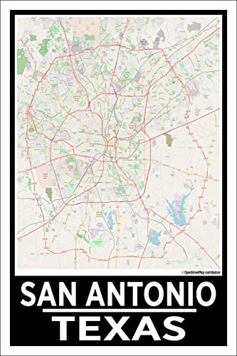 Spitzy's San Antonio Texas 12 by 18 Inch City Map Poster, Modern Home Wall Art Decoration, Printed ()