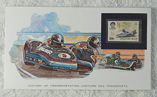 Motorcycle with Sidecar - Postage Stamp (Isle of Man, 1982) & Art Panel - The History of Transportation - Franklin Mint (Limited Edition, 1986) - Benga Johansson, Jock Taylor, Racing