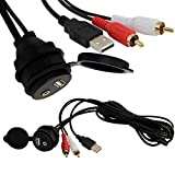 """Car Dash Mount Installation USB AUX 1/8"""" 2rca Extension Data Av Cable Waterproof"""