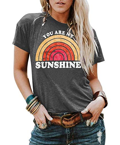 Kaislandy Womens You are My Sunshine T Shirt Short Sleeve Printed Graphic Tees Casual Summer O Neck Tops Shirts Grey (Tunic T-shirt Graphic)