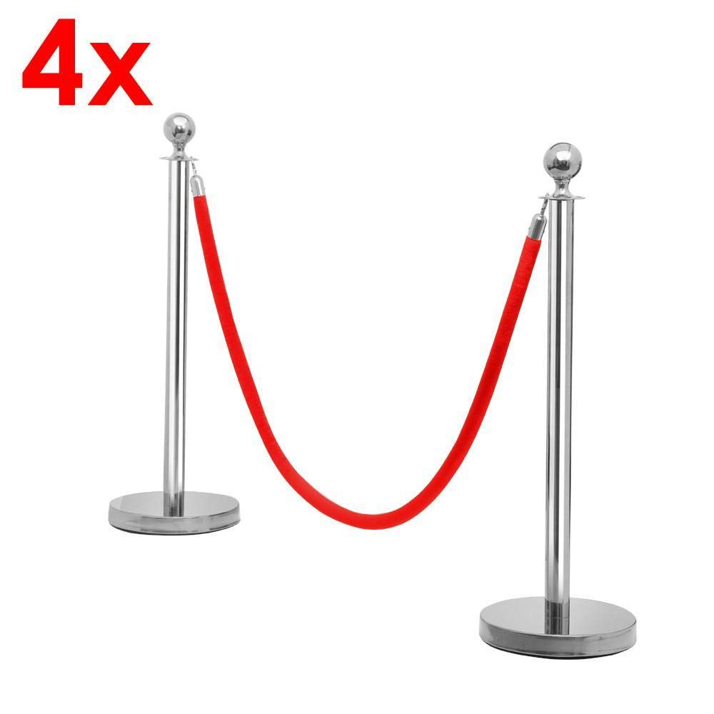 Yaheetech 8pcs Stainless Plated Stanchions Red Velvet Rope Crowd Control Barriers Post Stanchion Silver 6.5ft
