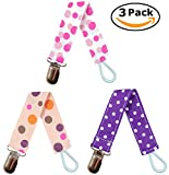 EliteBaby Soothie Pacifier Clip for Girls, 3 Pack | Baby Shower Gifts