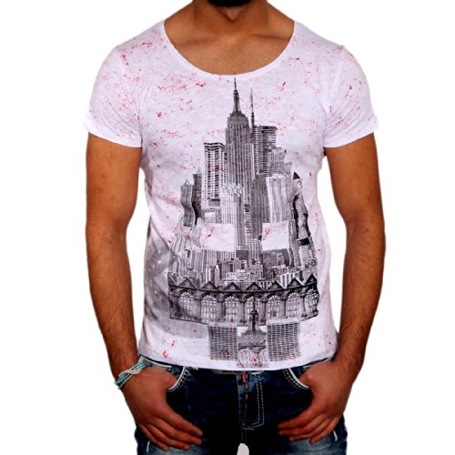 T-Shirt 6627 R-Neal, Größe:L, Farbe:Weiß / Rot