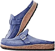 MoneRffi Women's Women Clogs Suede Slip On Sandals Loafer Flat Round Toe Backless Walking Slippers S