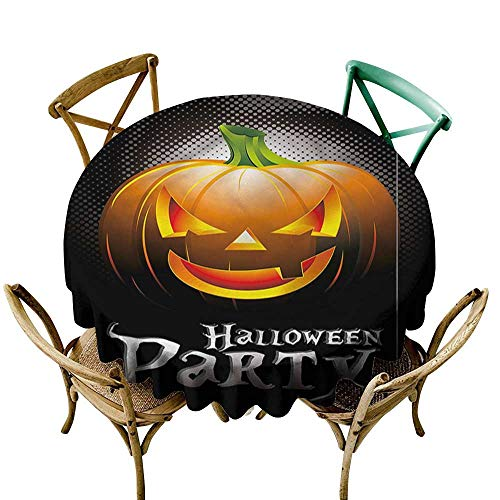 familytaste Halloween,Modern Printed Table Cloth Party Theme Scary Pumpkin D 60