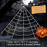 Pawliss Giant Spider Web with Super Stretch Cobweb Set, Halloween Decor Decorations Outdoor Yard, White, 16 Feet
