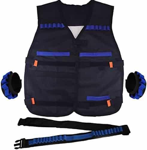EC2BUY Tactical Equipment Set for Nerf N-strike Elite Series Blasters Toy Gun (1 Bandolier + 2 Wrister + 1 Vest)