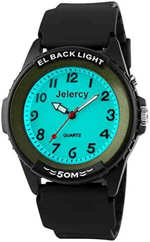 Jelercy Casual Boys Analog Quartz Watch 164FT Water Resistant White Dial Arabic Numbers EL Backlight Luminous Watches Green