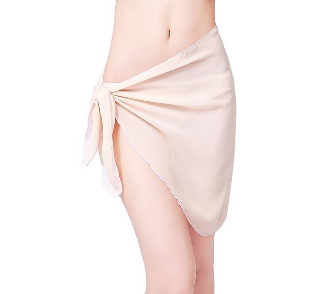 f4f92e31a1 Sythyee Women s Sarong Wrap Beach Swimwear Chiffon Cover Up Short Pareo  Bikini Swimsuit Wrap Skirt Bathing