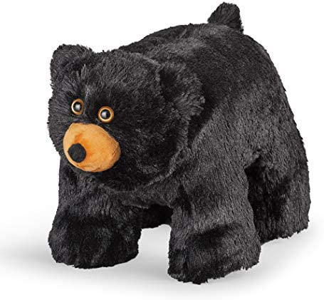 Collections Etc Plush Black Bear Footstool Cabin D cor with Plush Faux Fur for a Charming Addition to Any Room