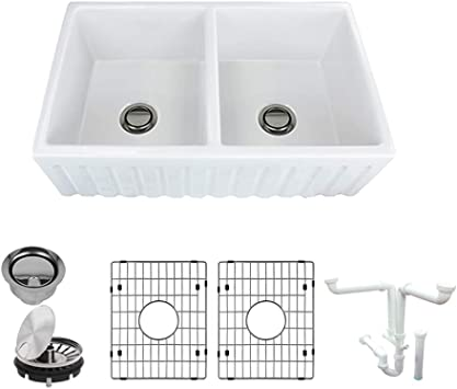 Transolid K Fudf332010 Logan Fireclay Undermount Reversible Fluted Plain Equal Double Bowls Farmhouse Kitchen Sink Kit 20 In L X 33 In W X 10 In H White Amazon Com