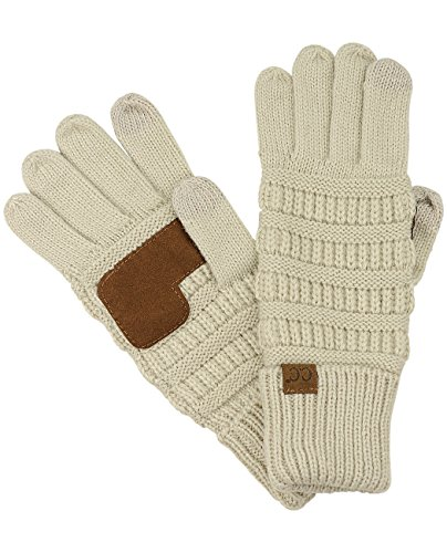 C.C Unisex Cable Knit Winter Warm Anti-Slip Touchscreen Texting Gloves, Beige