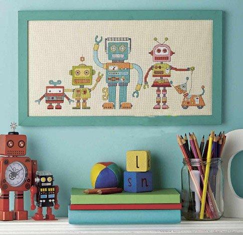 Robot Cross Stitch Kit,Egyptian cotton thread 14 ct,42x24cm173X75 stitch for little boy Cross Stitch Kits