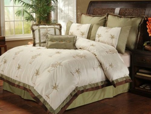 palm tree comforter set king Amazon.com: Palm Tree Tropical Queen Comforter Set (8 Piece Bed In  palm tree comforter set king