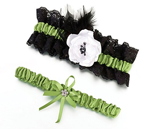 (Lillian Rose Lime Green and Black Feather Wedding Garter Set)