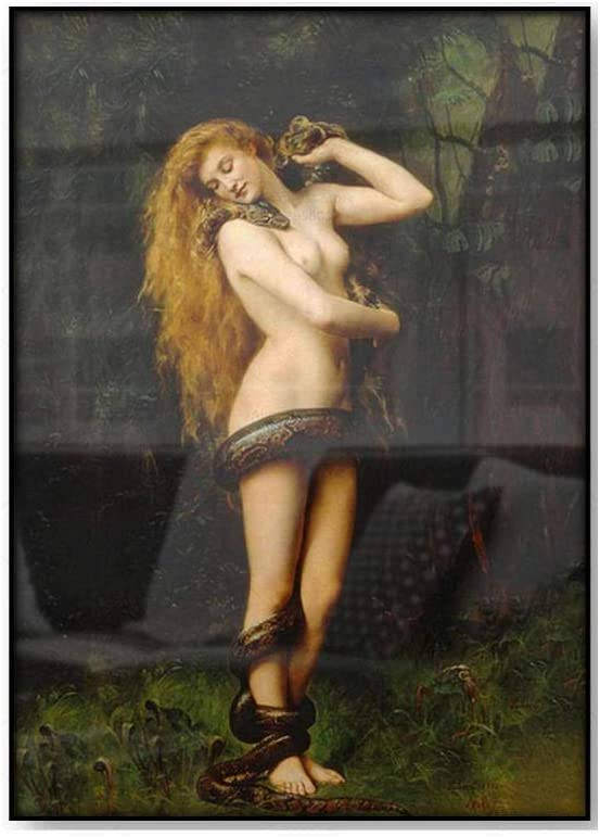 KWGQM John Collier Lilith Vintage Painting Poster Woman with Snake Serpent Garden Eden Mythological Antique Wall Decor Canvas Art Pictures 60x80cm No Frame