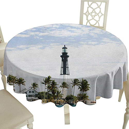 crabee White Round Tablecloth United States,Hillsboro Lighthouse Pompano Beach Florida Atlantic Ocean Palms Coast,Blue White Green D50,for Baby Shower