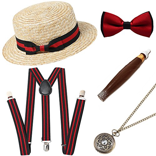 BABEYOND 1920s Mens Gatsby Gangster Costume Accessories Set Manhattan Fedora Hat Suspenders -