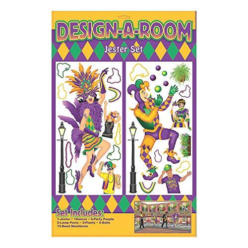 Fun Express - Mardi Gras Design A Room Jester Set for Mardi Gras - Party Decor - Wall Decor - Scene Setters - Mardi Gras - 2 Pieces -